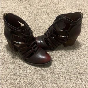 Burgundy Distressed Ankle Boots